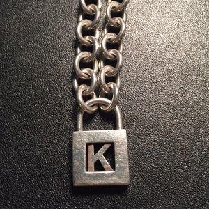 """Tiffany & Co """"K"""" Lock Charm and Heavy Chain"""